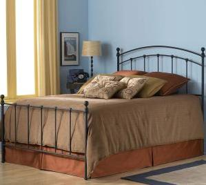 Sanford Bed with Metal Panels and Round Finial Posts, Matte Black Finish